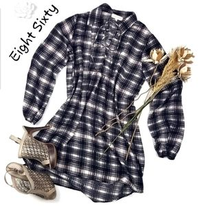 Eight Sixty Black Gray Plaid lace Tunic Top M